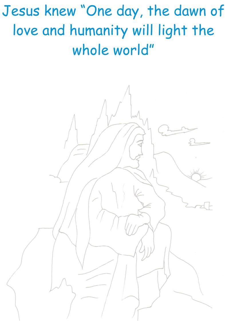 Jesus sees Dawn Coloring printable page for kids