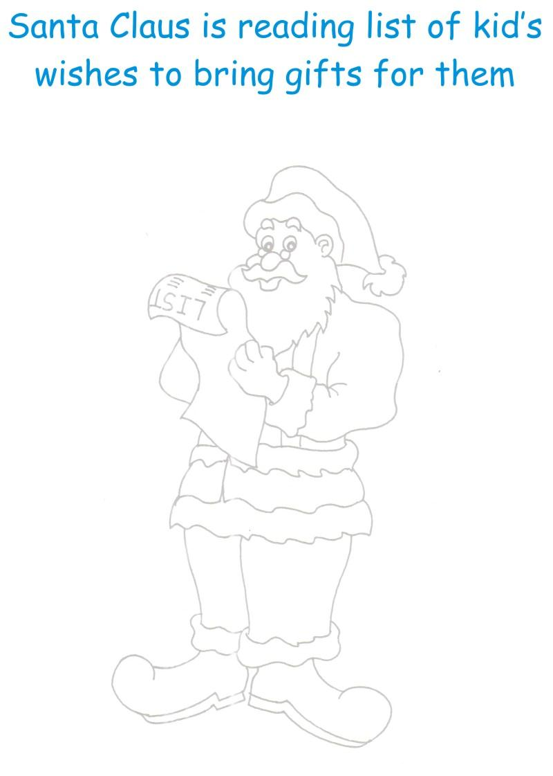 Santa with Gifts List coloring page
