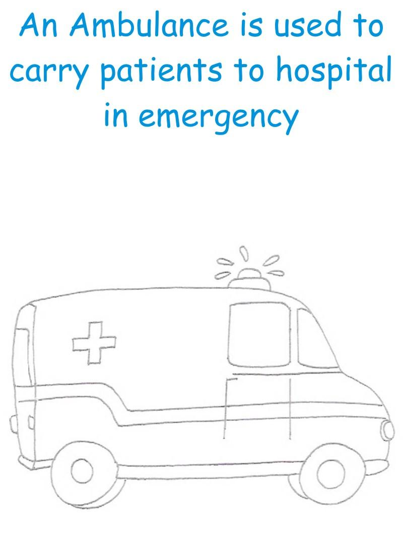 Ambulance printable coloring page for kids