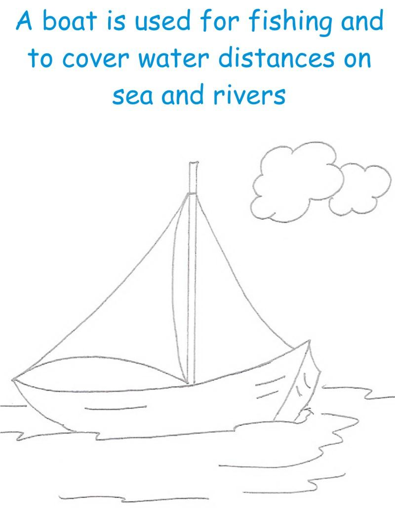 Boat printable coloring page for