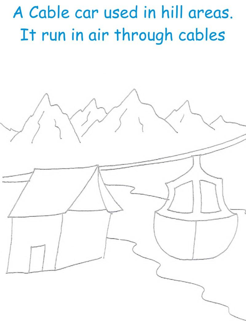 Cable car printable coloring page for kids