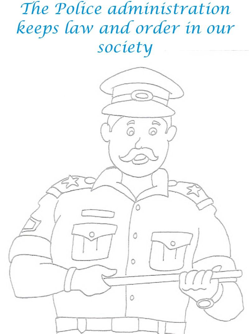 Policeman printable coloring page for kids