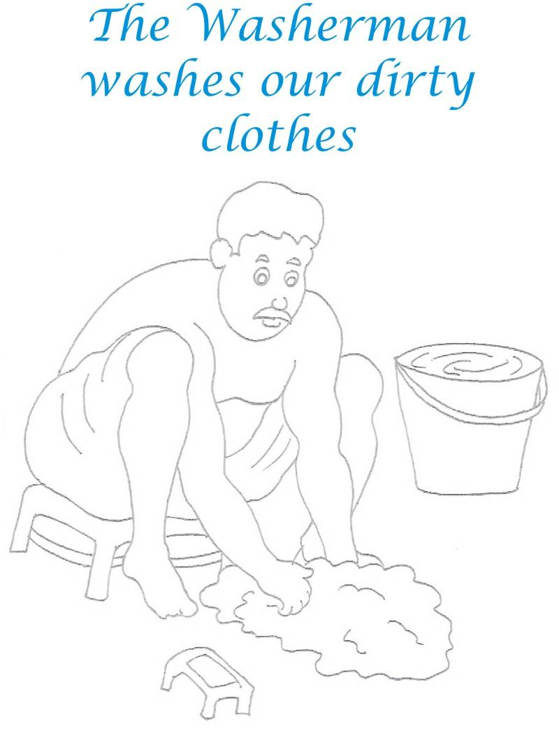 Washer man coloring printable page for kids