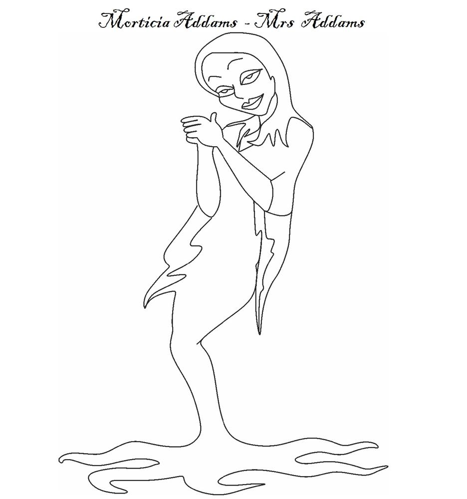 The Addams Family coloring pages - Character Morticia Addams