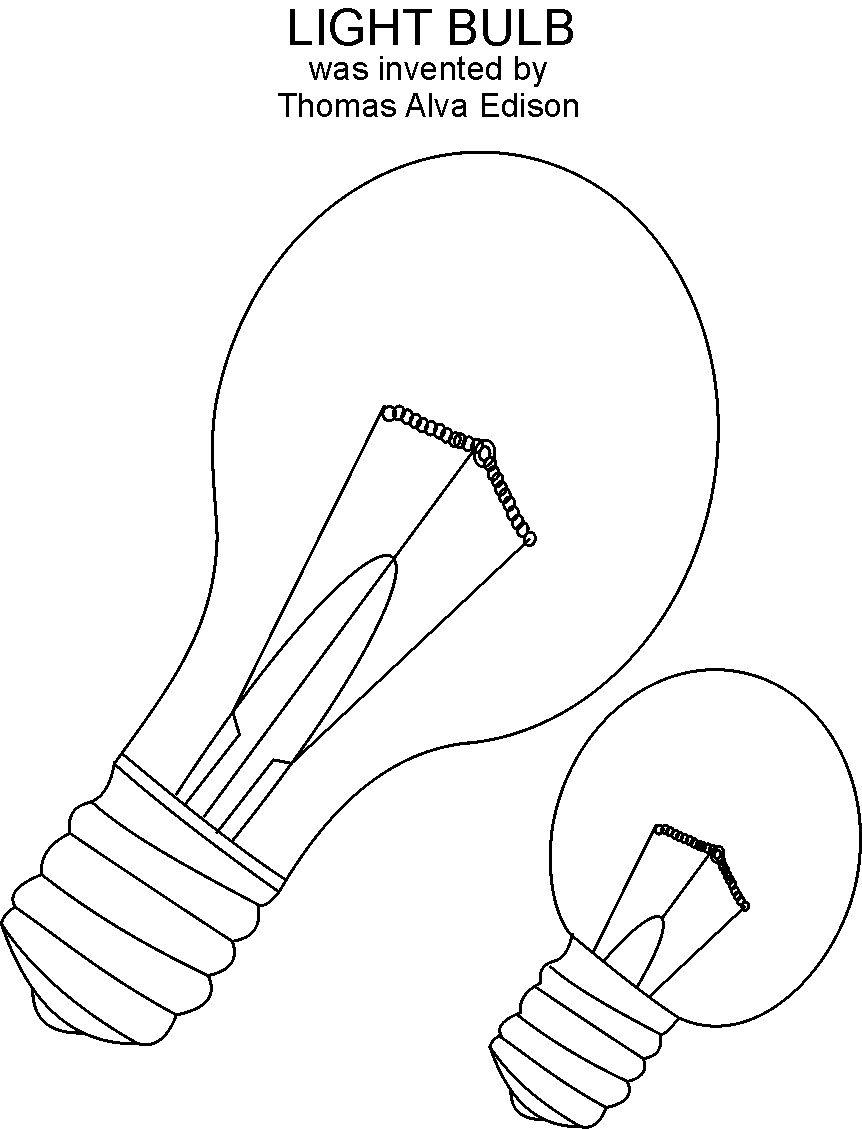 light bulb coloring pages for kids | Light Bulb coloring printable