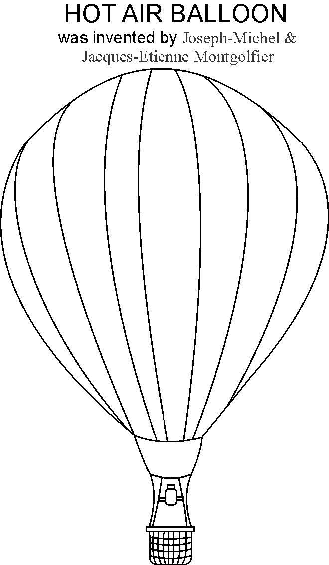 Hot Air Balloon Coloring Printable Page
