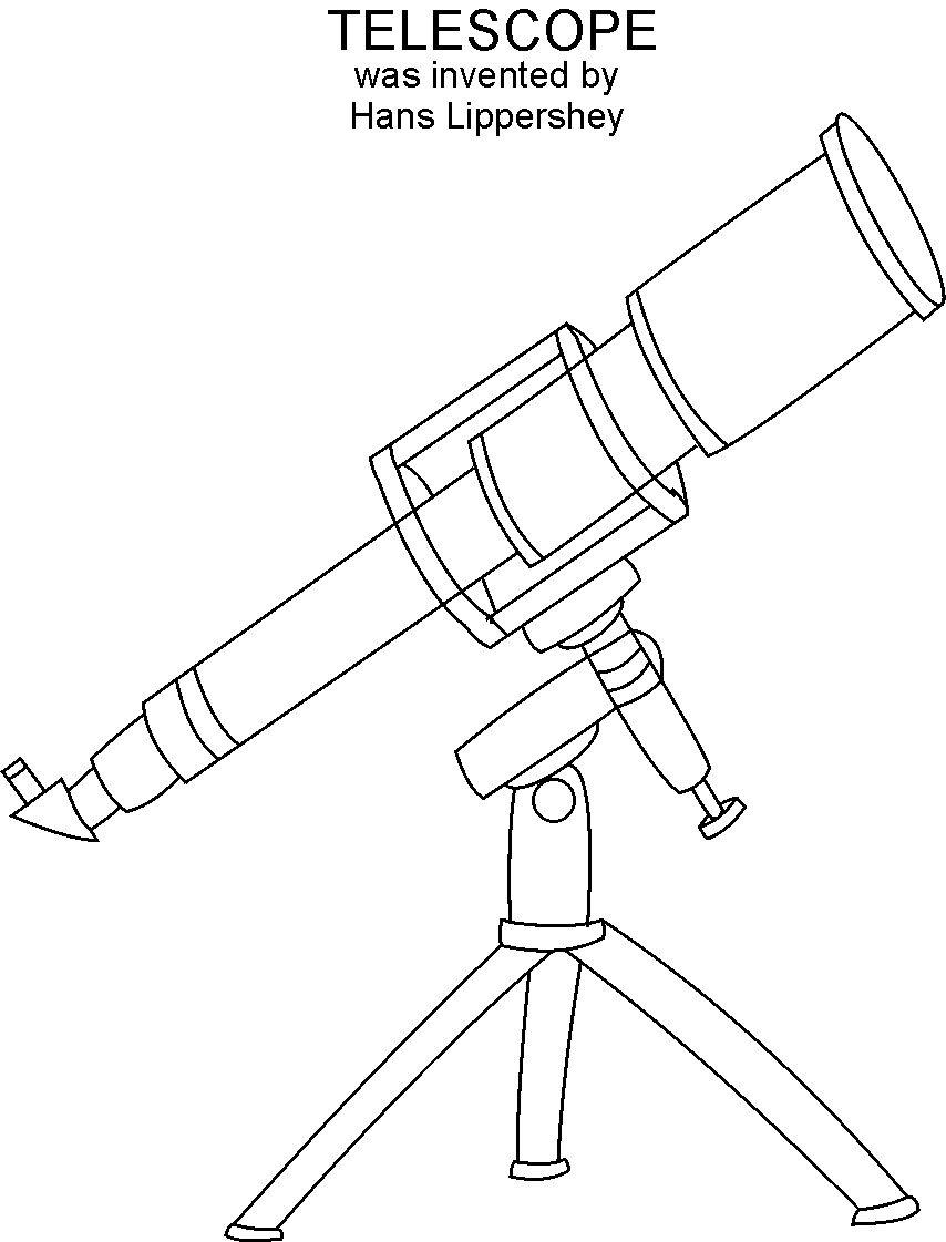 Telescope coloring printable page