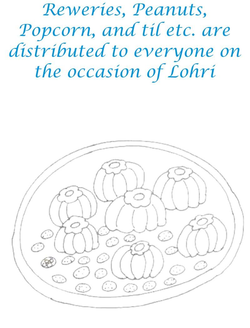 Lohri Sweets Printable coloring page for kids
