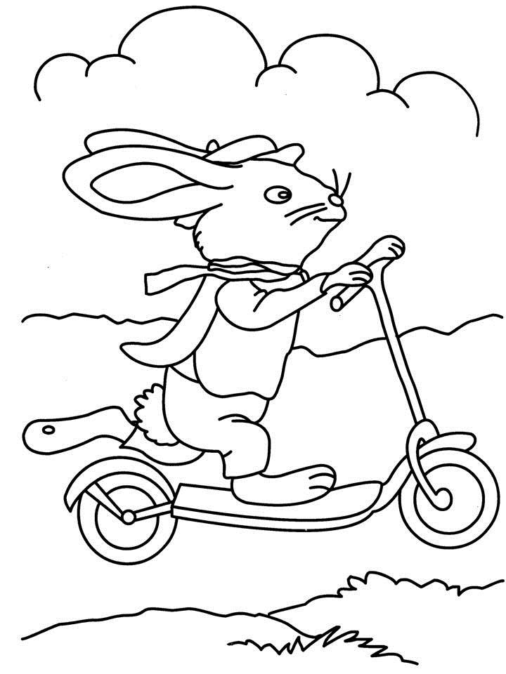 Rabbit riding bicycle coloring page