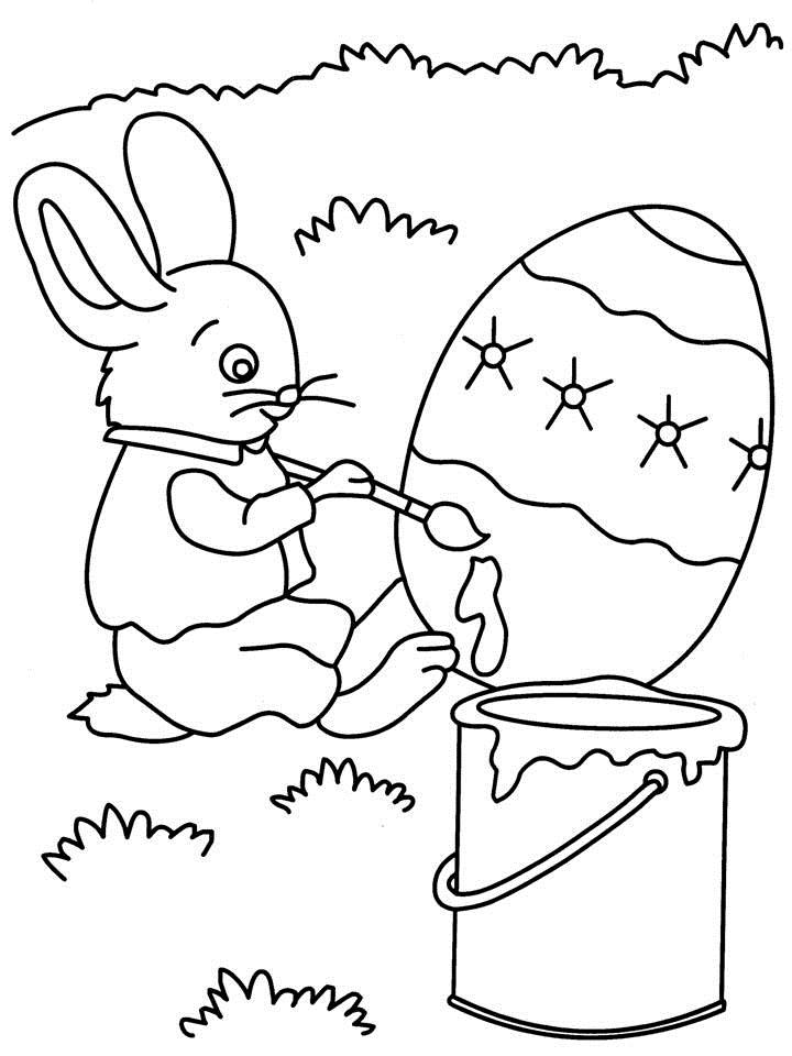 Rabbit painting coloring printable