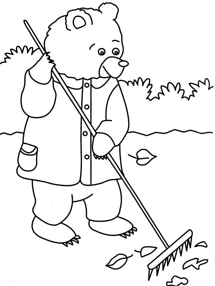 Bear Cleaning surface coloring printable page