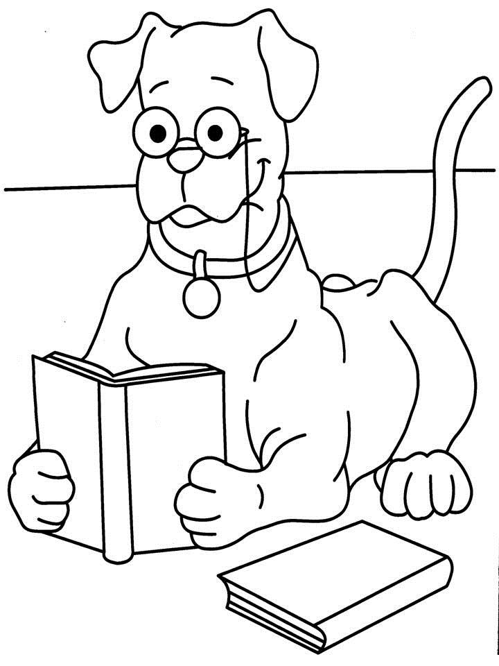 Dog Reading Book Coloring Printable Page