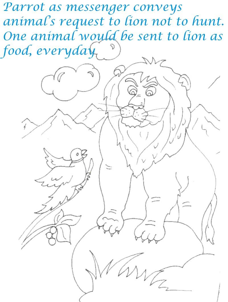 Animal message to lion coloring page for kids