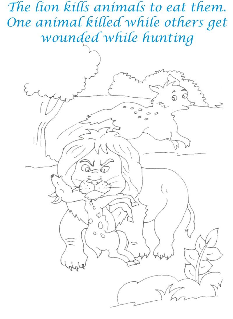 Lion on hunt coloring printable page for kids
