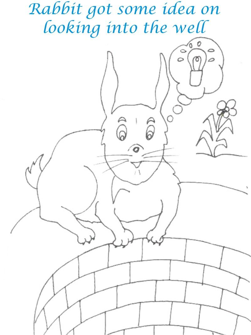 Rabbit got idea coloring page for kids