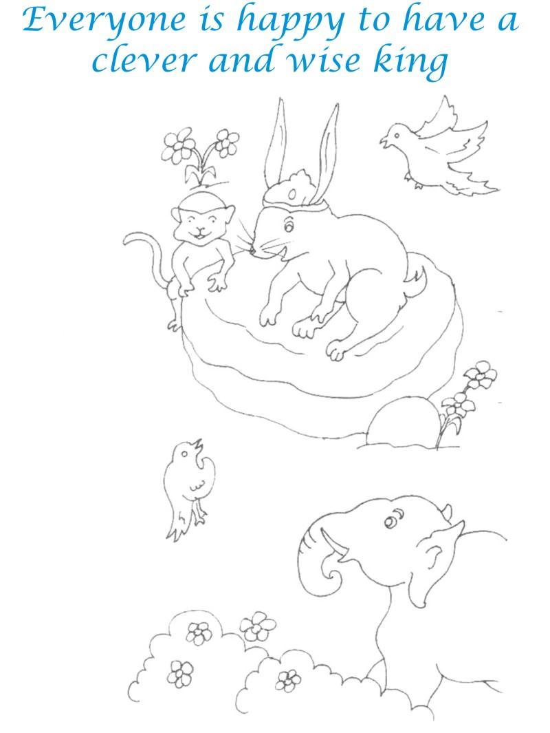 Rabbit as king of the jungle coloring page for kids