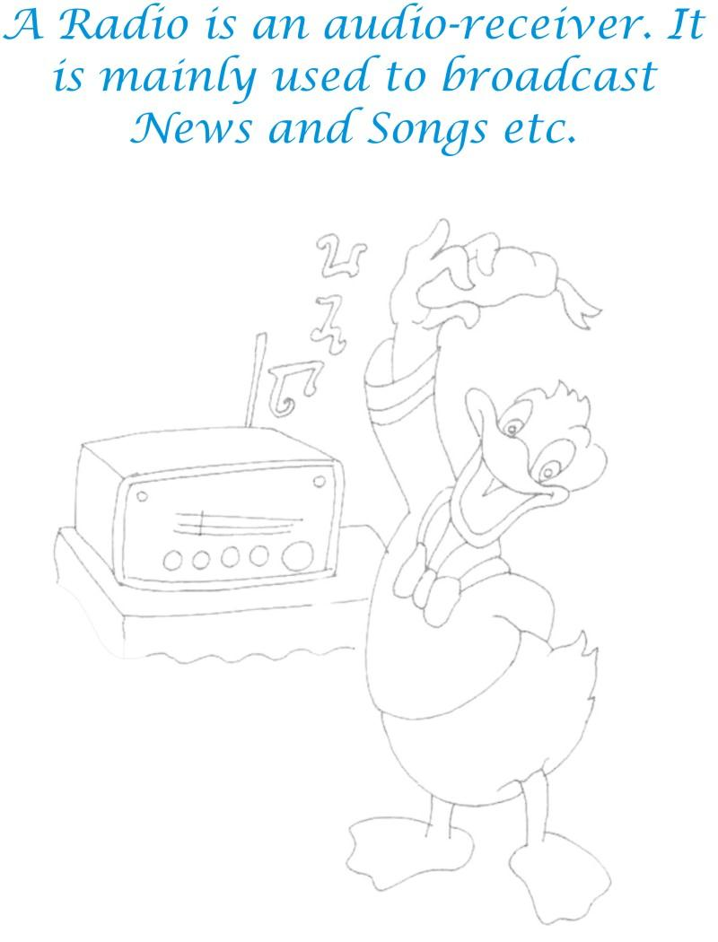 Radio communication device coloring page for kids