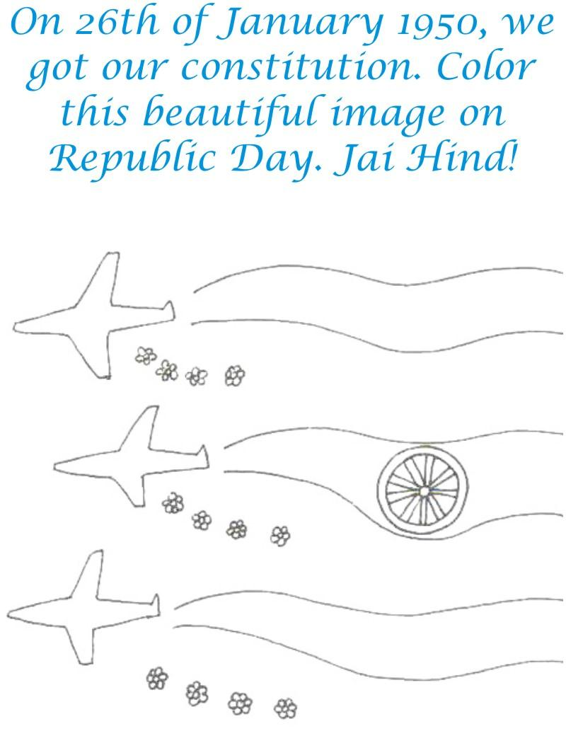 Aeroplane flags coloring page for