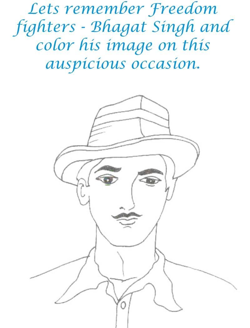 Bhagat Singh coloring printable for kids