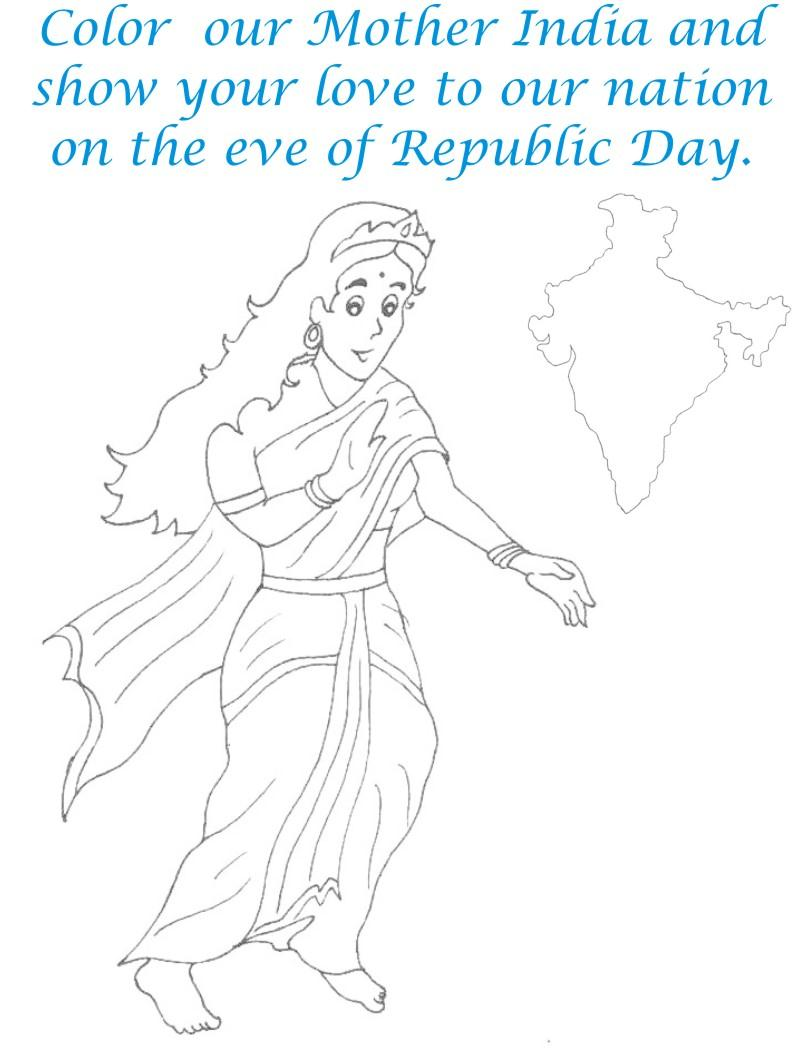 Mother India coloring page for kids