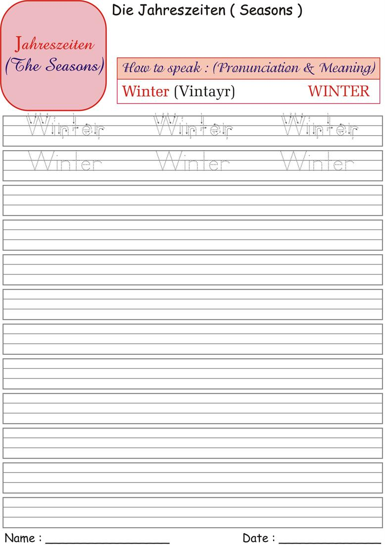 German Seasons Worksheets for practice- Winter