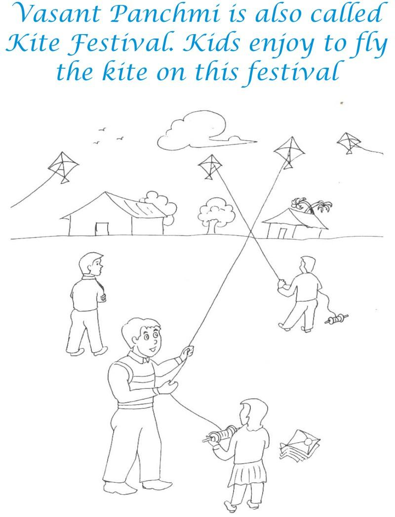 Kite competition coloring printable for kids