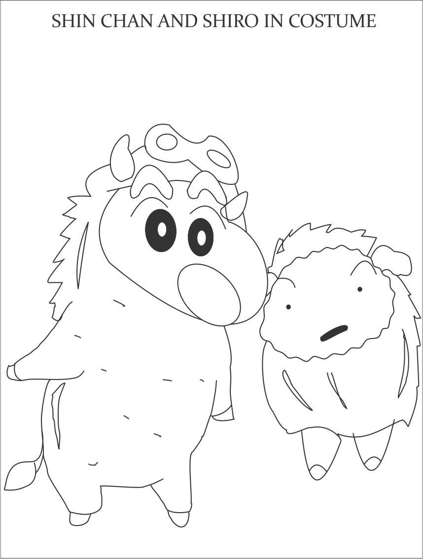 Shin chan in costume coloring page for kids