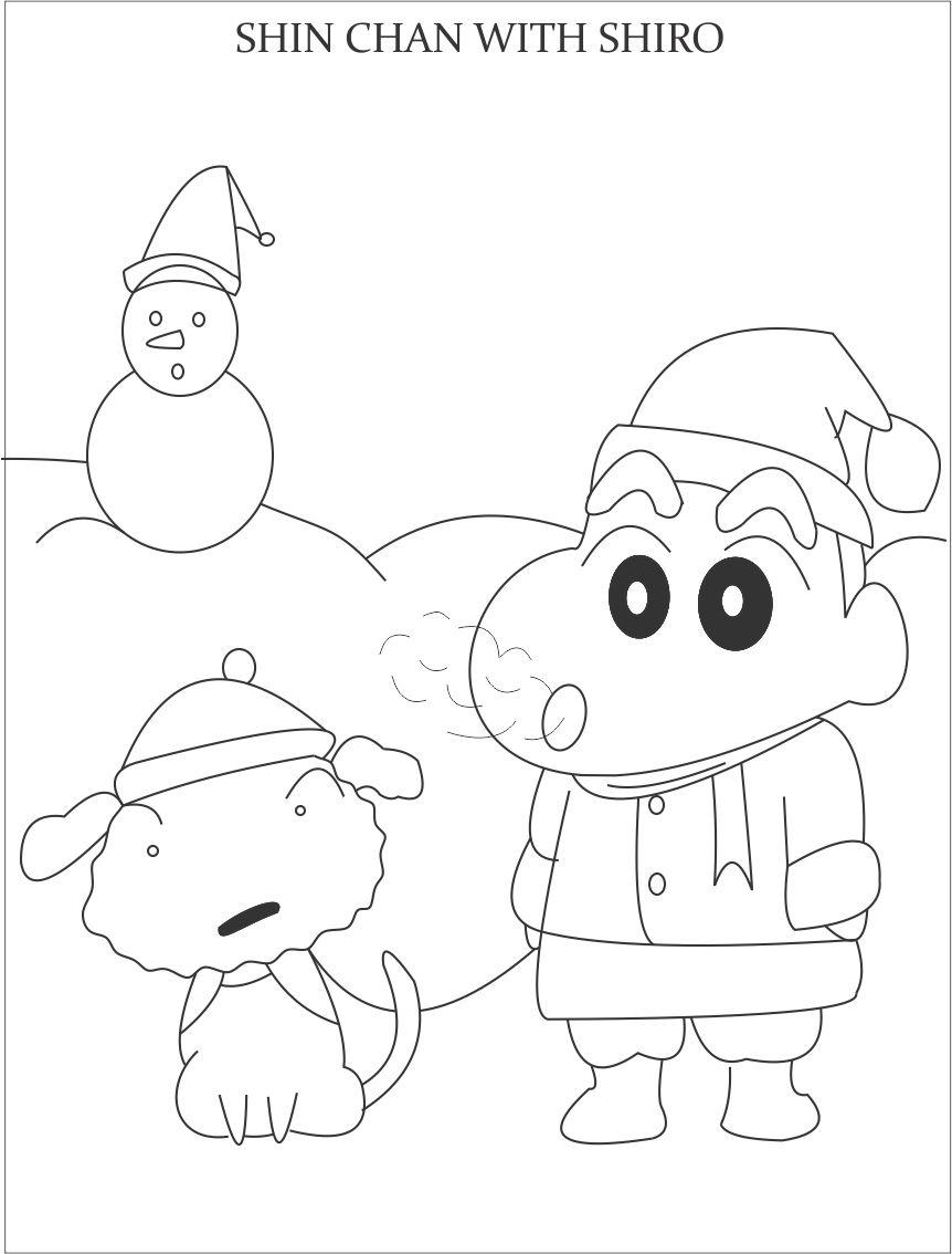 Shin chan and snowman coloring page for kids