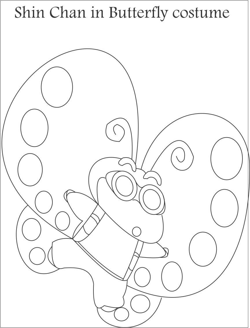 Shin chan in butterfly costume coloring page for kids