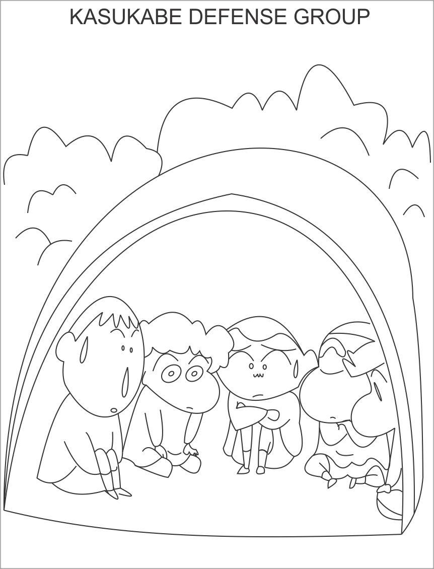 Kasukabe defense group coloring page for kids