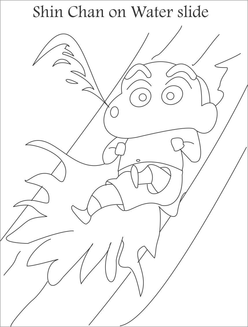 Shin chan  water slide coloring page for kids