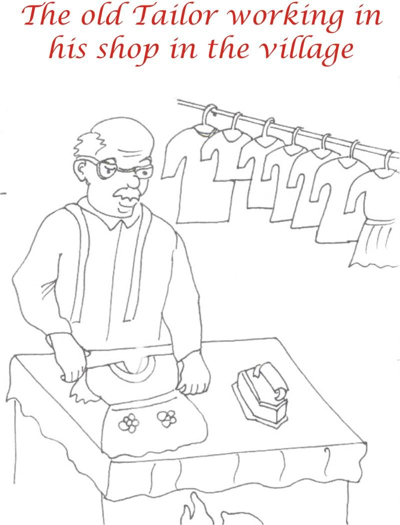 Old Tailor in shops coloring page for kids