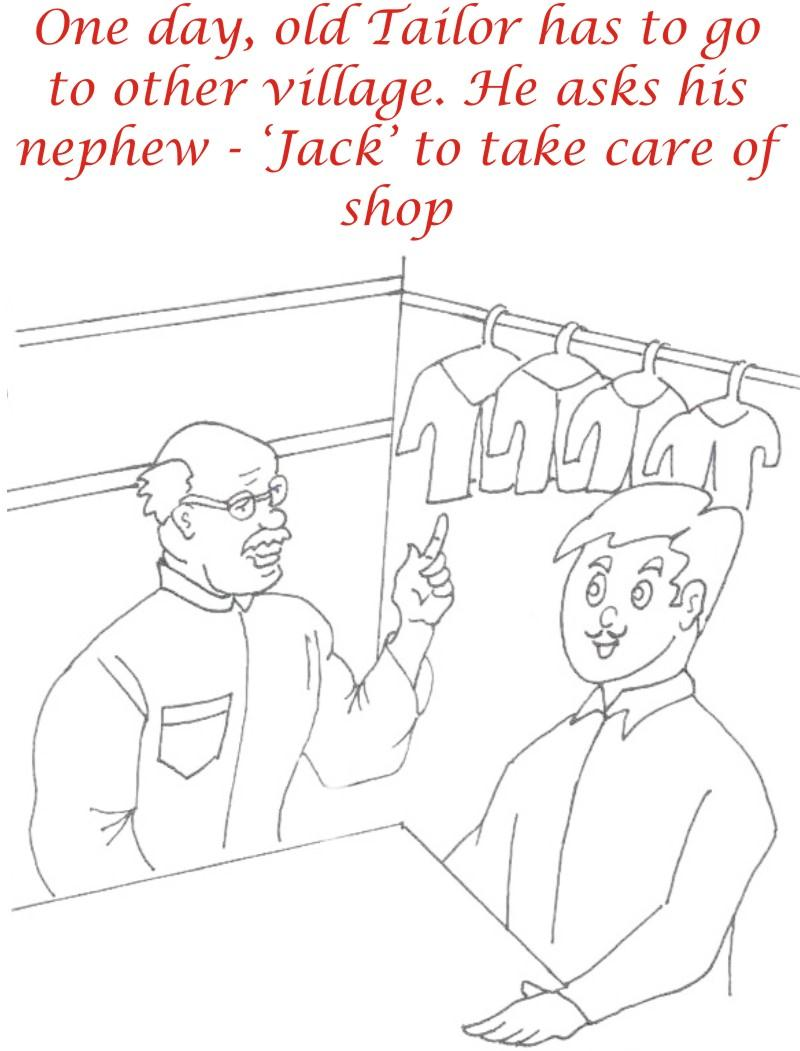 Old tailor instructing jack coloring page for kids