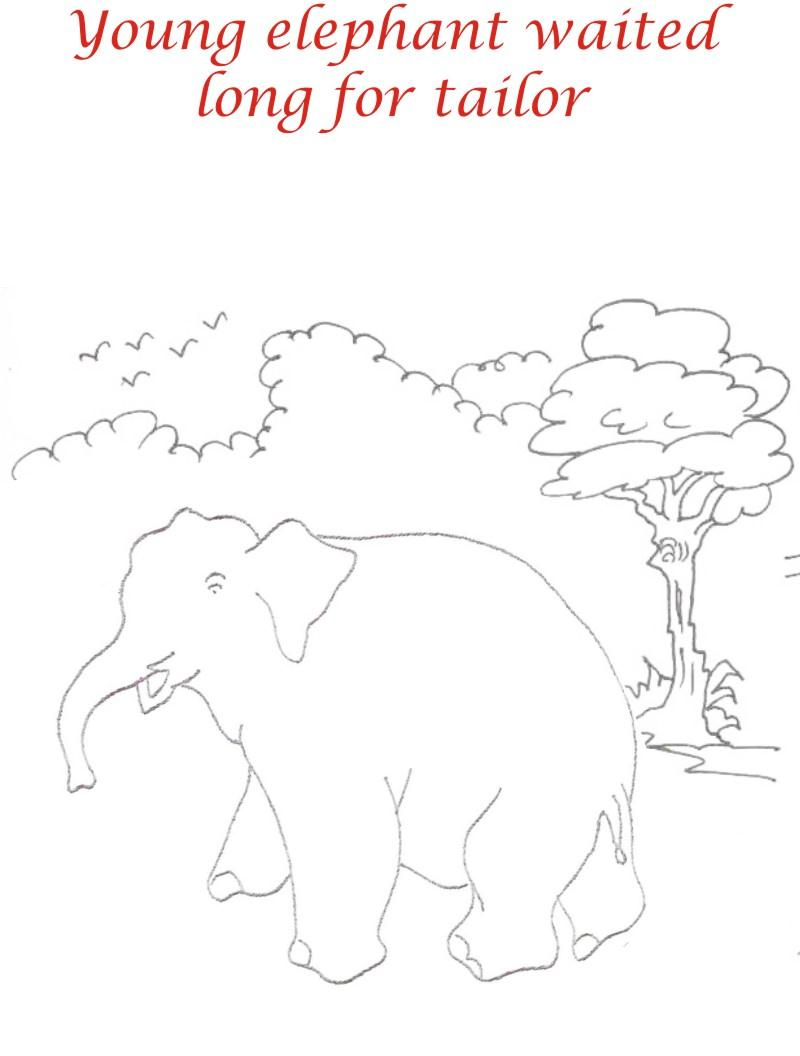 Young elephant waits coloring printable page