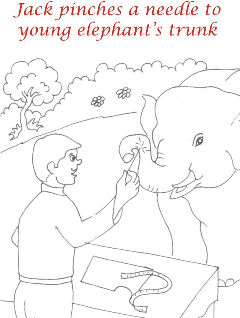 Jack needles elephant coloring page printable