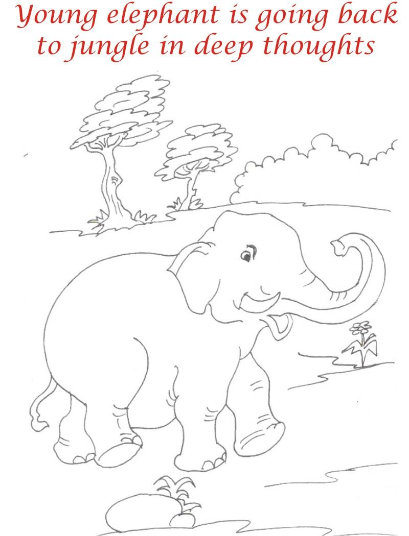 Young elephant in jungle coloring page for kids
