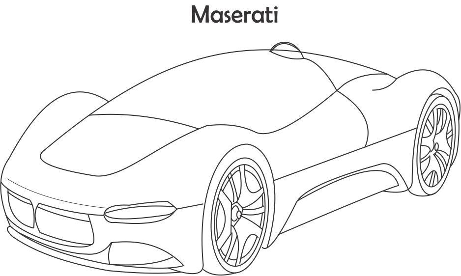 Maserati Coloring Page For Kids