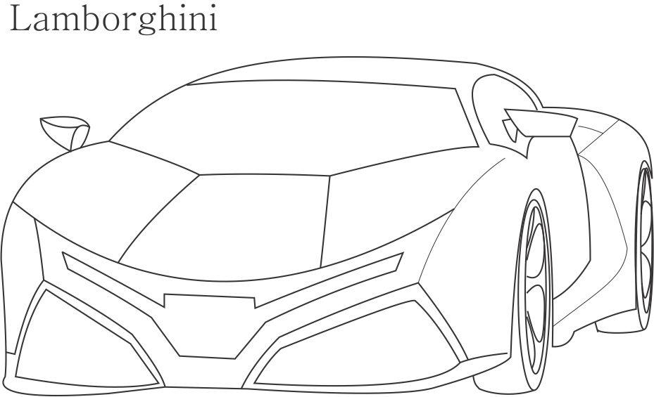 Super Car Lamborghini Coloring Page For Kids