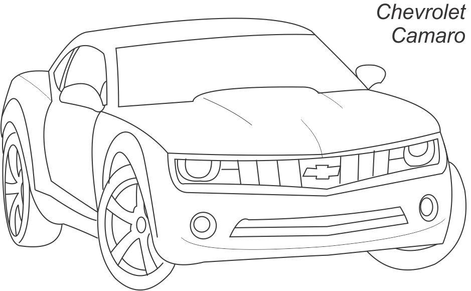 Super car - Chevrolet camaro coloring page for kids