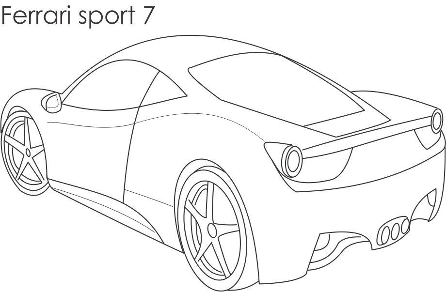 Super car - Ferrari sport 7 coloring page for kids