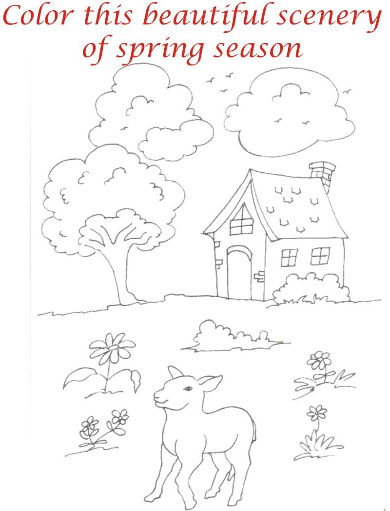 Spring season coloring printable page2 for kids