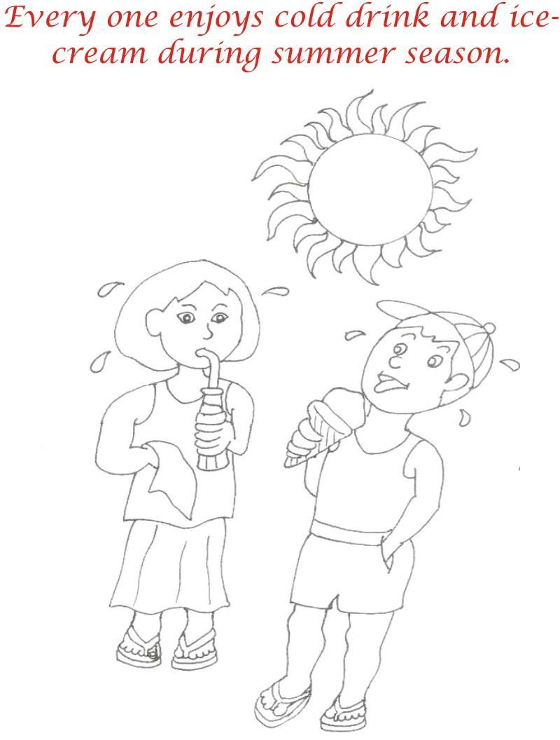 Summer season coloring printable page1 for kids