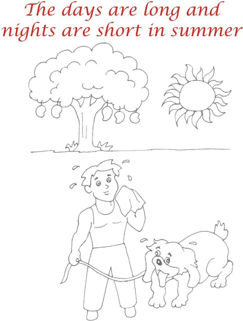 Summer season coloring printable page3 for kids