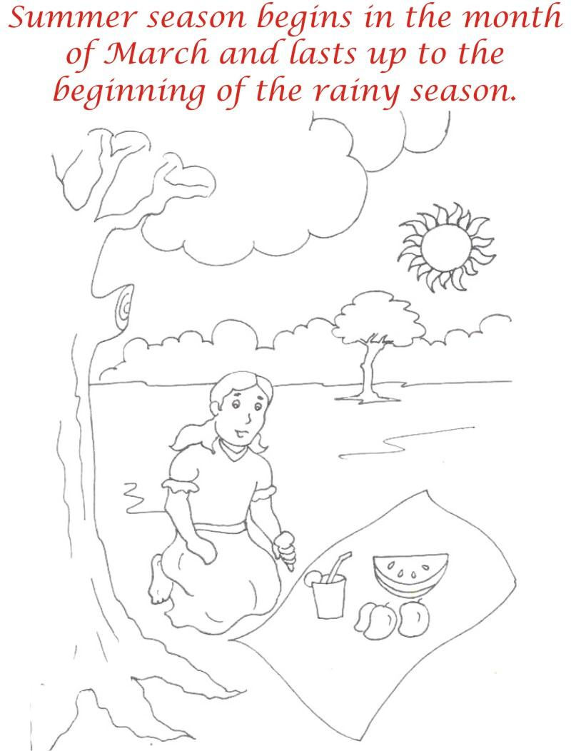 Summer season coloring printable page4 for kids