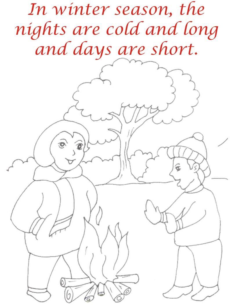 Winter season coloring printable page2 for kids