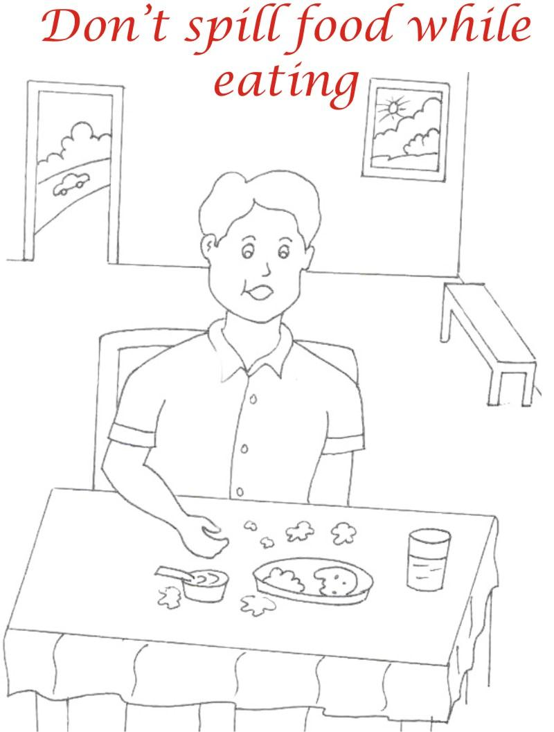 Eating manners coloring printable page 7 for kids