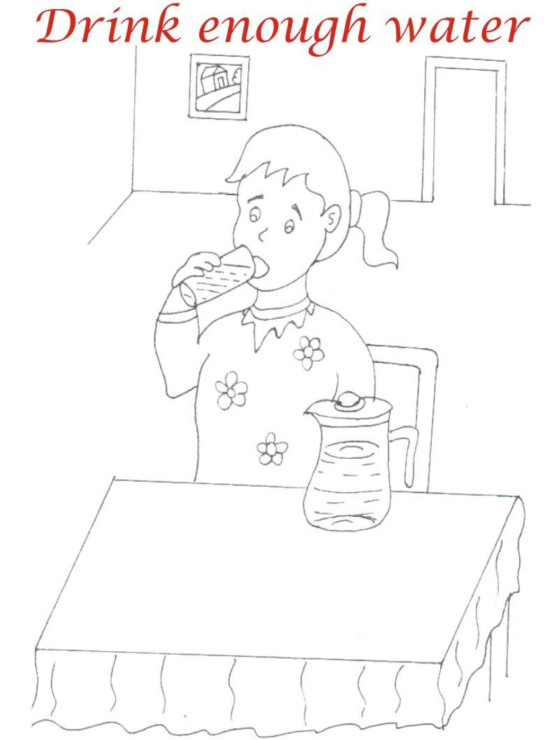 Eating manners coloring printable page 9 for kids