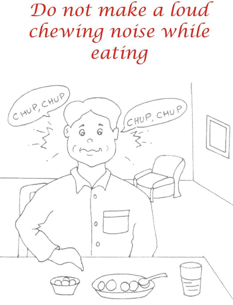 Eating Manners Coloring Printable Page 11 For Kids