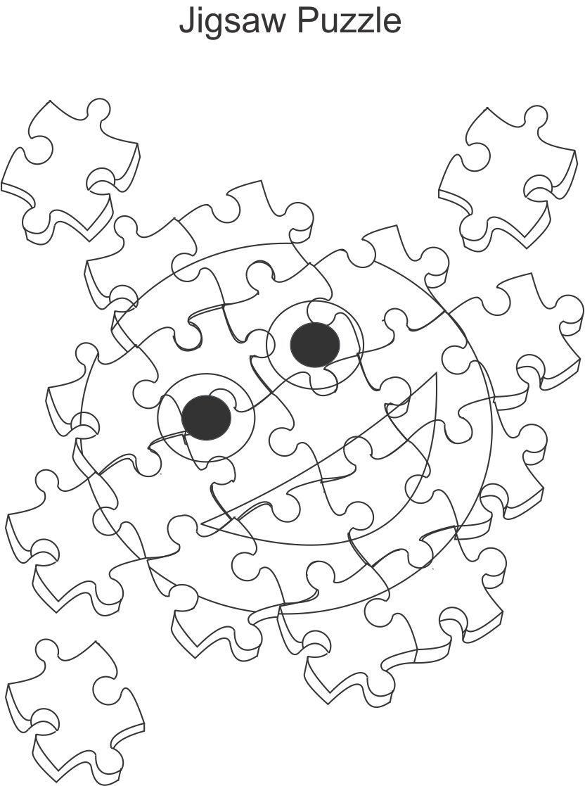 Jigsaw puzzle coloring printable page for kids
