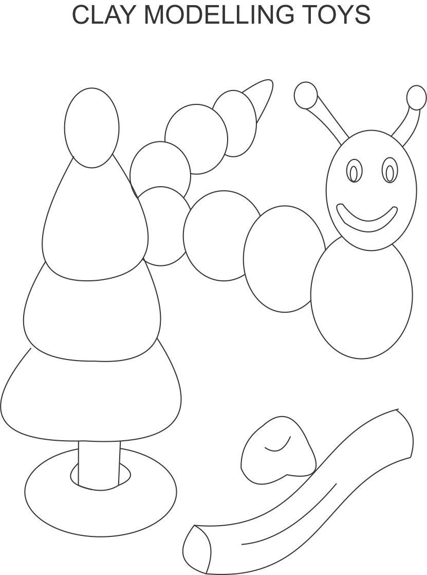 Clay model coloring page for kids